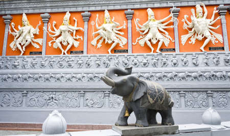 Five Hindi Gods and  Elephant with Bell and Chain photo
