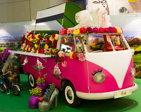 Old Fashion VW Transporter Camper transformed in an exhibition in Singapore on June 1, 2013 in Singapore, Singapore