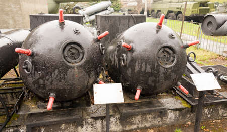 a faction: Two Soviet Sea Mines with red spikes on them Stock Photo