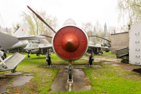 Vintage Soviet Russian grey jet fighter parked outdoor