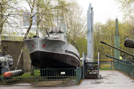 Russian Military Boat out of the Water in Gray Color Editorial