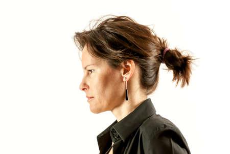 Beautiful Woman Face Portrait Dark Hair photo