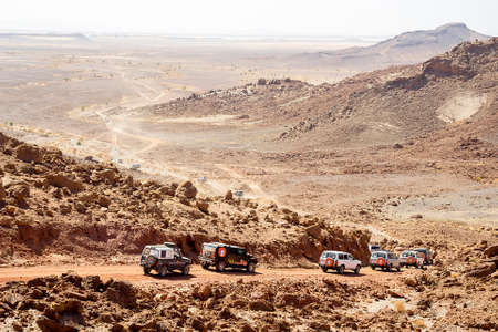 airflow: ERRACHIDIA, MOROCCO - OCTOBER 12: BorgWarner Supports 2015 Dakar Rally Winner Team KAMAZ-master With Advanced Airflow Technologies. A caravan of 4x4 on the Rally Dakar track in on October 12, 2012 in Errachidia, Morocco.