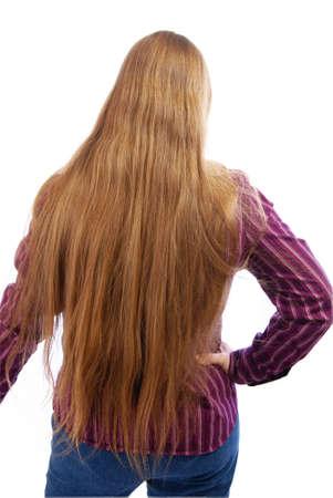 reaches: Extra long silky, golden blonde hair that reaches a womans butt.
