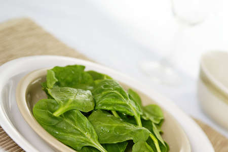 Fresh raw spinach leaves on a plate with placemat. Low DOF. Stok Fotoğraf