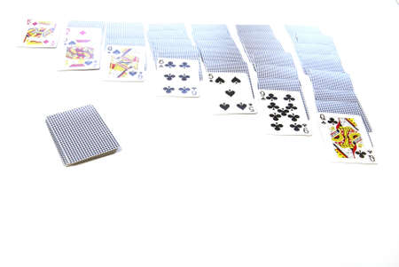 Retro Games. Playing cards laid out for solitaire