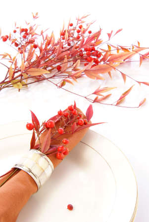 napkin ring: Decorative orange cloth napkin in napkin ring with red and orange leaves and berries, vertical format.