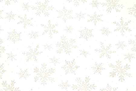 Snowflake background with shiny metallic snowflakes on white gauzy fabric photo