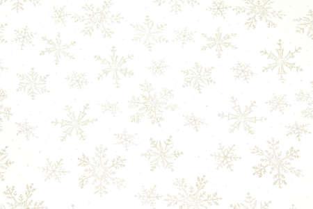 Snowflake background with shiny metallic snowflakes on white gauzy fabric