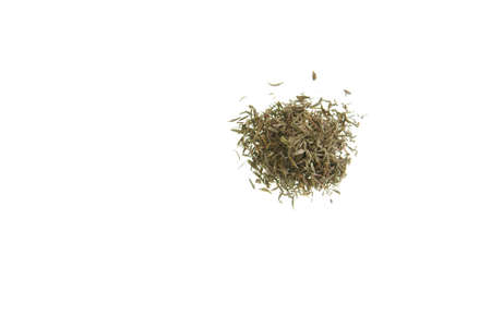 Small pile of dried thyme herb on white
