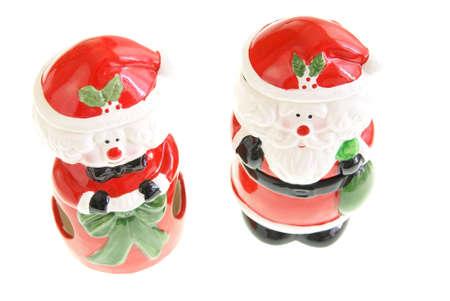 dona: Santa Claus y la se�ora figuras en blanco Foto de archivo