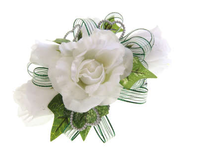White fabric rose flower wrist corsage for prom, valentines day or other special event Stock Photo