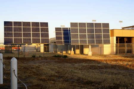 Commercial Solar Array installation in early morning sunlight