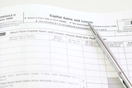 자본 이득 및 손실, 일정 D, 미국 세금 양식 스톡 콘텐츠