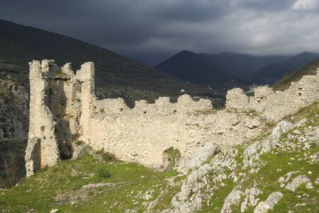 thomas: Thomas Aquinas (also known as Doctor Angelicus) medieval castle ruins, Roccasecca, Lazio, Italy. Spring season, overcast day.