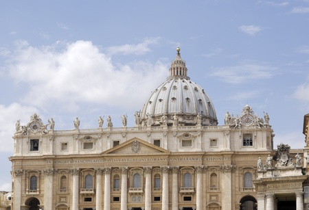 peters: Partial view of St. Peters Basilica facade in summer mid day light. Editorial