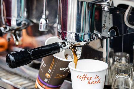preasure: Morning cofee take away coffee Stock Photo