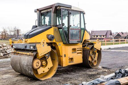 Road roller at contsruction making new asphalt layer
