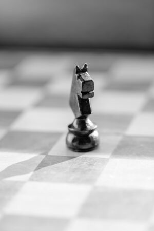 CHALLENGING: Chess knight pawn on chess board close up. Black and white macro vertical Stock Photo