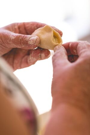 Senior woman, grand mother cooking traditional dumplings. Vertical crop, focus on hands with dumplings and stuffing