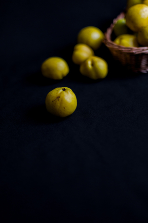 Ripped yellow fruits of quince (Chaenomeles) on dark background table and in woven basket in muted day light. Close up detailed shot with selective focus and shallow depth of field Stock Photo