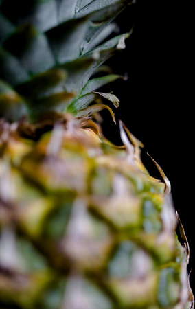 Pineapple extreme macro crop on dark background. Vertical orientation with selective focus and shallow depth of field.