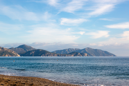 West Turkish coast at Sarigerme village in sunny winter day with calm Mediterranean Sea and blue sky 版權商用圖片 - 119363883