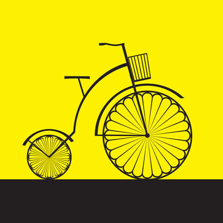 Abstract illustration of retro bicycle on yellow background Vector