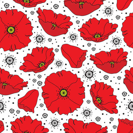 Floral seamless vector background with poppy flowers Vector