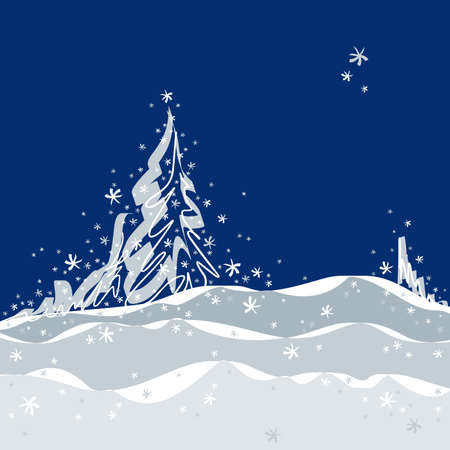 blue christmas background: Christmas background with trees, element for design, vector illustration
