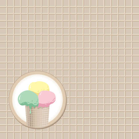 deliciously: cup of ice cream for waffle background