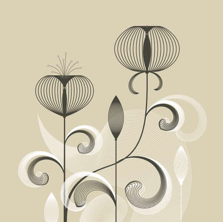 Abstract retro flowers on beige background, vector illustration