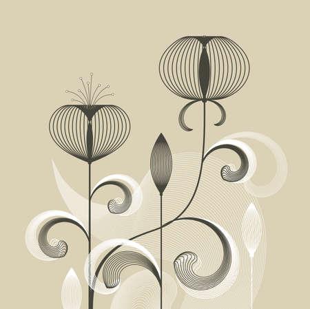 flowering plants: Abstract retro flowers on beige background, vector illustration Illustration