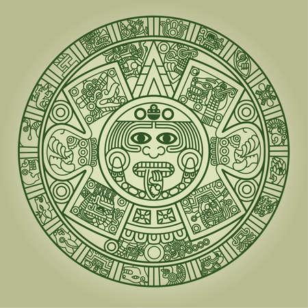 calendari: Stilizzato calendario azteco di colore verde, illustrazione  Vettoriali