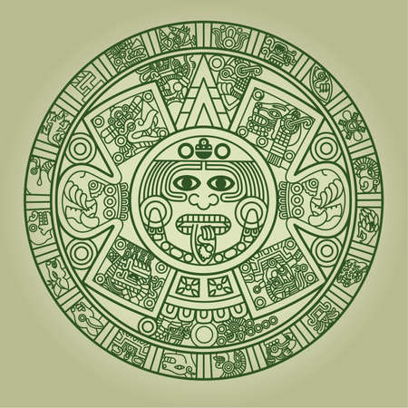 archaeology: Stylized Aztec Calendar in green color, illustration Illustration