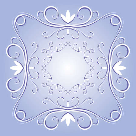 ornamental elements in blue and white colors Vector