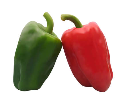 deliciously: red and green paprika on a white background
