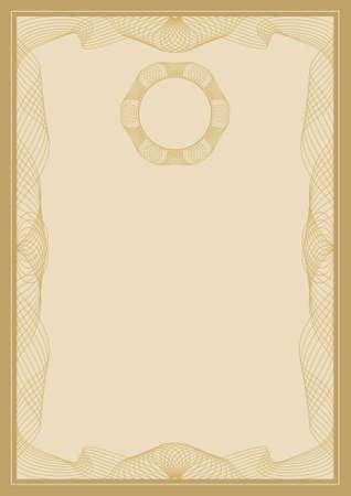 guilloche pattern: Guilloche vector frame for diploma or certificate Illustration