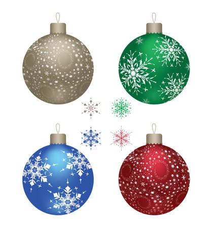 Blue, gold, red and green christmas balls on a white background, vector Vector