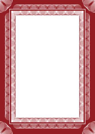 guilloche pattern: Marco de vector de revestido de certificado o diploma
