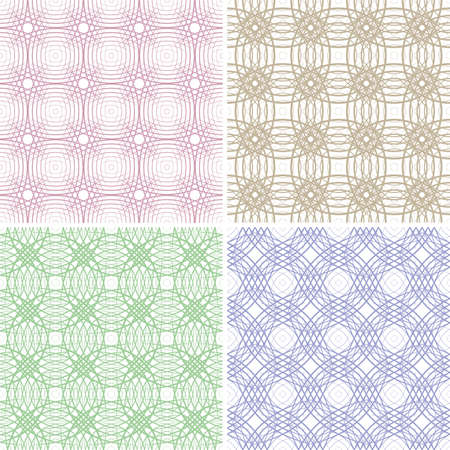 Four seamless illustration of the color lines on a white background Vector