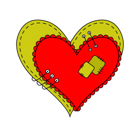 two colored hearts sewn with thread to each other on a white background Vector