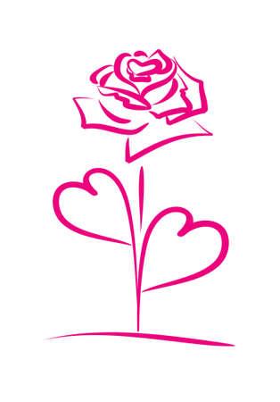 hart bloem: Rode roos met bloemblaadjes in de vorm van een hart op een witte achtergrond