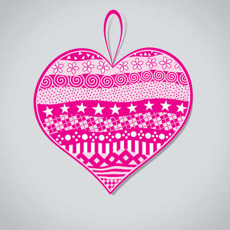 a set of patterns on an abstract pink heart Vector