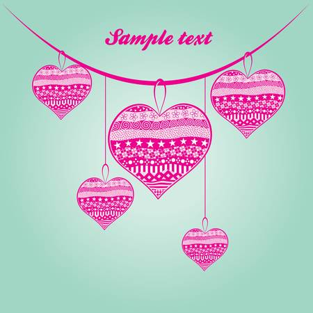 five pink hearts hanging on the tape Vector