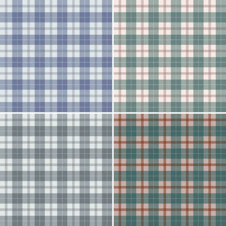 Set seamless backgrounds of plaid pattern, illustration Vector