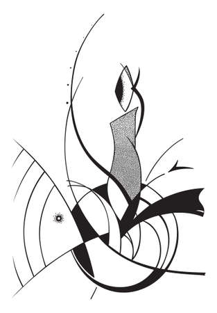 silouette: Fantastic abstract illustration in black on a white background