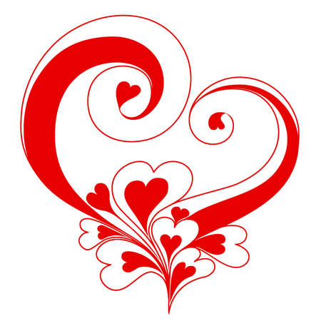 valentines holiday: Abstract heart with ornaments of spirals Illustration