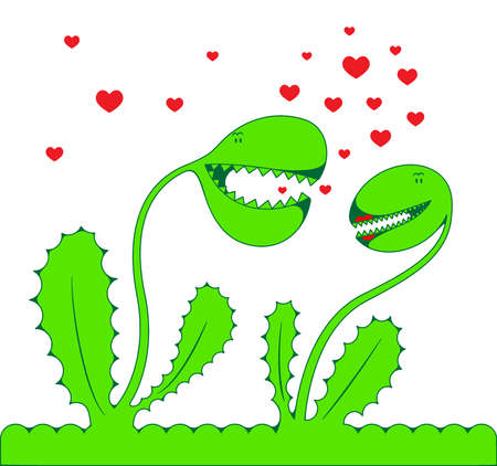 prickles: Due amanti fantastici di Verdi piante su uno sfondo bianco  Vettoriali