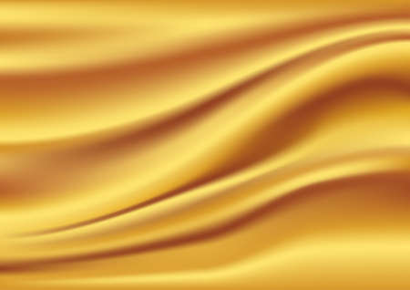 Golden satin, silk, waves. Yellow background illustration